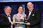 Katie Creaven, Bravo Theatre Group Musical Society, Loughrea County Galway who won Best Female Singer / Sullivan Section for her performance as 'Mrs. Lovett in Sweeney Todd'' receiving the trophy from on  left, Colm Moules, President, AIMS and Seamus Power, Vice-President at the Association of Irish Musical Societies annual awards in the INEC, KIllarney at the weekend.<br /> Photo: Don MacMonagle -macmonagle.com<br /> <br /> <br /> <br /> repro free photo from AIMS<br /> Further Information:<br /> Kate Furlong AIMS PRO kate.furlong84@gmail.com