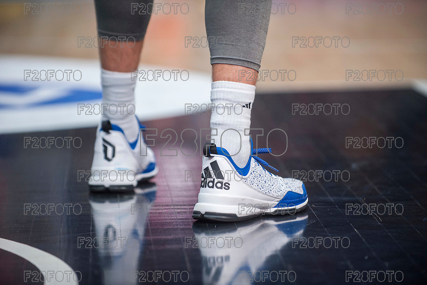 VALENCIA, SPAIN - NOVEMBER 22: Adidas trainers during Endesa League match between Valencia Basket Club and Retabet.es GBC at Fonteta Stadium on November 22, 2015 in Valencia, Spain