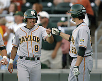 Baylor 3B Shaver Hansen (8) celebrates after scoring a run against Texas on May 3rd, 2008. Photo by Andrew Woolley / Four Seam Images