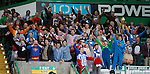 Kilmarnock fans in fancy dress celebrate a 2-0 victory at Celtic Park