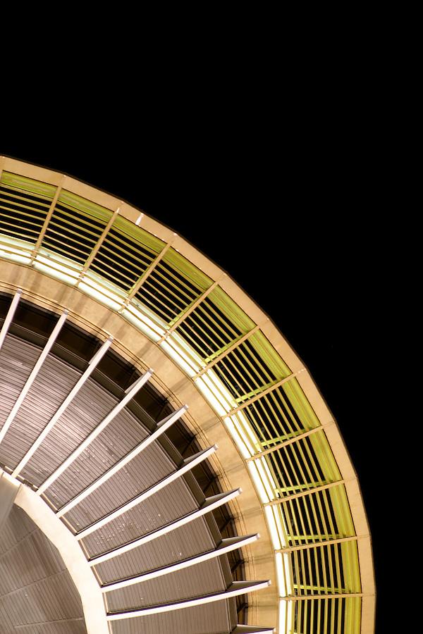 Nighttime detail of top of Seattle Space Needle, Seattle Center, Seattle, Washington, USA