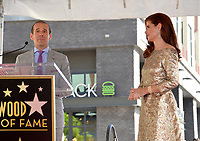Debra Messing &amp; Max Mutchnick at the Hollywood Walk of Fame Star Ceremony honoring actress Debra Messing on Hollywood Boulevard, Los Angeles, USA 06 Oct. 2017<br /> Picture: Paul Smith/Featureflash/SilverHub 0208 004 5359 sales@silverhubmedia.com