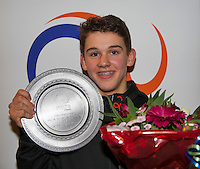 Almere, Netherlands, December 6, 2015, Winter Youth Circuit, Overall winner Winner boys 14 years: Stijn Pel with the trophy<br /> Photo: Tennisimages/Henk Koster