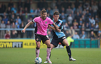 Marc Richards of Northampton Town holds off Danny Rowe of Wycombe Wanderers during the Sky Bet League 2 match between Wycombe Wanderers and Northampton Town at Adams Park, High Wycombe, England on 3 October 2015. Photo by Andy Rowland.