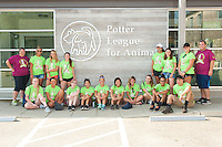 Salve Regina Freshmen and Student Mentors gather at the Potter League for Animals to begin their community service project.