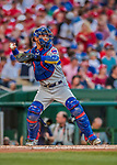 7 October 2017: Chicago Cubs catcher Willson Contreras in action against the Washington Nationals at Nationals Park in Washington, DC. The Nationals defeated the Cubs 6-3 and even their best of five Postseason series at one game apiece. Mandatory Credit: Ed Wolfstein Photo *** RAW (NEF) Image File Available ***