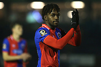 Dagenham's Tomi Adeloye applauds the away fans at the end of the match during Bromley vs Dagenham & Redbridge, Vanarama National League Football at the H2T Group Stadium on 24th November 2018