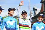 World Champion Alejandro Valverde (ESP) and Movistar Team at the team presentation before the start of the 105th edition of Liège-Bastogne-Liège 2019, La Doyenne, running 256km from Liege to Liege, Belgium. 27th April 2019<br /> Picture: ASO/Gautier Demouveaux | Cyclefile<br /> All photos usage must carry mandatory copyright credit (© Cyclefile | ASO/Gautier Demouveaux)