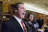 New York State Governor Andrew Cuomo is seen speaking with reporters in the lobby of Trump Tower in New York, NY, USA following his meeting with President-elect Trump on January 18, 2017. <br /> Credit: Albin Lohr-Jones / Pool via CNP