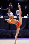 Uzume Kawasaki (JPN), <br /> AUGUST 27, 2018 - Gymnastics - Rhythmic : <br /> Individual All-Around Qualification Ball <br /> at JIEX Kemayoran Hall D <br /> during the 2018 Jakarta Palembang Asian Games <br /> in Jakarta, Indonesia. <br /> (Photo by Naoki Morita/AFLO SPORT)