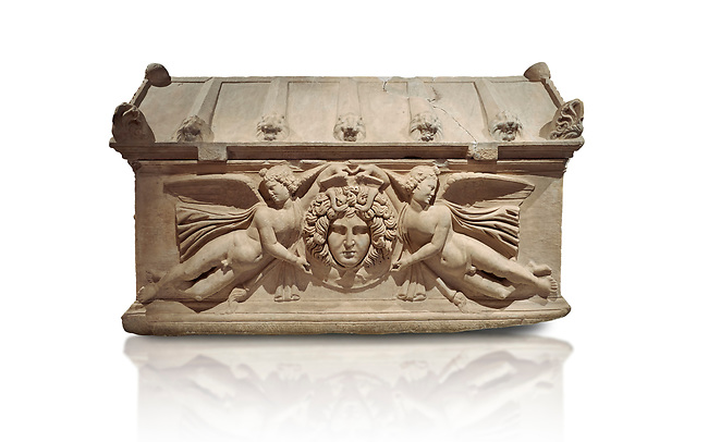 Roman relief sculpted sarcophagus with winged youths, 2nd century AD, Perge, inv 380. Antalya Archaeology Museum, Turkey. Against a white background.