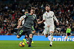 Real Madrid's Sergio Ramos and Real Sociedad's David Zurutuza during La Liga match between Real Madrid and Real Sociedad at Santiago Bernabeu Stadium in Madrid, Spain. January 06, 2019. (ALTERPHOTOS/A. Perez Meca)<br />  (ALTERPHOTOS/A. Perez Meca)