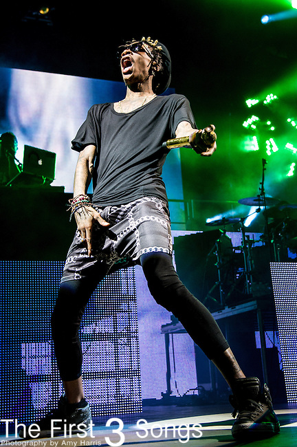 Wiz Khalifa (Cameron Jibril Thomaz) performs at Klipsch Music Center in Indianapolis, Indiana.