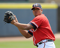 13 April 2008: RHP Jairo Cuevas (15) of the Mississippi Braves, Class AA affiliate of the Atlanta Braves, in a game against the Mobile BayBears at Trustmark Park in Pearl, Miss. Photo by:  Tom Priddy/Four Seam Images