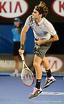 Roger Federer (SUI) wins at Australian Open in Melbourne Australia on 17th January 2013