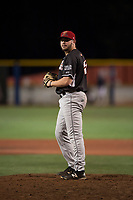Salem-Keizer Volcanoes relief pitcher Matt Frisbee (45) gets ready to deliver a pitch during a Northwest League game against the Hillsboro Hops at Ron Tonkin Field on September 1, 2018 in Hillsboro, Oregon. The Salem-Keizer Volcanoes defeated the Hillsboro Hops by a score of 3-1. (Zachary Lucy/Four Seam Images)