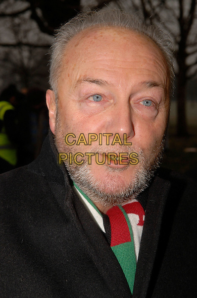 GEORGE GALLOWAY .At the demonstration going on near the Israeli embassy where thousands marched in protest against the military action in Gaza. .London, England, january 10th 2008..Israel Palestine politics political portrait headshot beard stubble politician MP.CAP/IA.©Ian Allis/Capital Pictures
