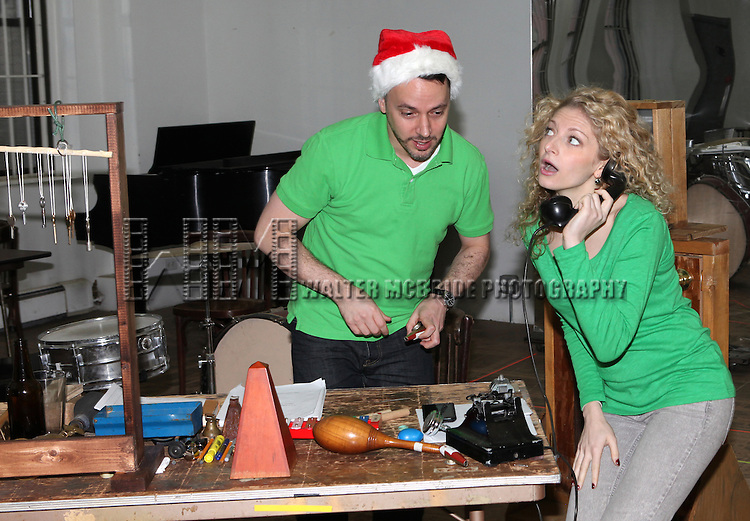 Mark Price & Lauren Molina attending the Rehearsal for the Bucks County Playhouse production of 'It's a Wonderful Life - A Live Radio Play' at their rehearsal studios in New York City on December 5, 2012.