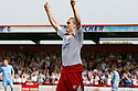 David Bridges of Stevenage Borough celebrates scoring the first goal during the Blue Square Premier match between Stevenage Borough and York City at the Lamex Stadium, Broadhall Way, Stevenage on Saturday 24th April, 2010..© Kevin Coleman 2010 ..