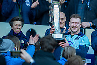 8th March 2020; Murrayfield Stadium, Edinburgh, Scotland; International Six Nations Rugby, Scotland versus France; Captain Stuart Hogg of Scotland collects the Auld Alliance Trophy from The Princess Royal