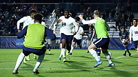 CARY, NC - DECEMBER 15: Daryl Dike #9 of University of Virginia celebrates his goal with teammates during a game between Georgetown and Virginia at Sahlen's Stadium at WakeMed Soccer Park on December 15, 2019 in Cary, North Carolina.