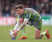 Newcastle Falcons' Toby Flood lines up a kick at goal<br /> <br /> Photographer Bob Bradford/CameraSport<br /> <br /> Anglo Welsh Cup Semi Final - Exeter Chiefs v Newcastle Falcons - Sunday 11th March 2018 - Sandy Park - Exeter<br /> <br /> World Copyright &copy; 2018 CameraSport. All rights reserved. 43 Linden Ave. Countesthorpe. Leicester. England. LE8 5PG - Tel: +44 (0) 116 277 4147 - admin@camerasport.com - www.camerasport.com