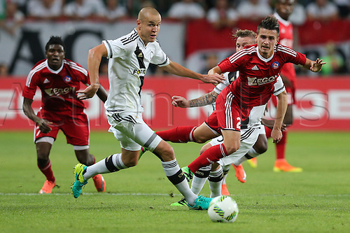 03.08.2016, Warsaw, Poland,  Adam Hlousek (Legia), Denis Janco (Trencin), Legia Warsaw versus AS Trencin, Champions League, qualification. The game  ended in a 0-0 draw with Legio going through on away goal.