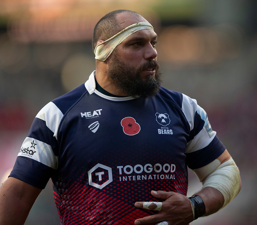 Bristol Bears' John Afoa<br /> <br /> Photographer Bob Bradford/CameraSport<br /> <br /> Gallagher Premiership Round 7 - Bristol Bears v Exeter Chiefs - Sunday 18th November 2018 - Ashton Gate - Bristol<br /> <br /> World Copyright © 2018 CameraSport. All rights reserved. 43 Linden Ave. Countesthorpe. Leicester. England. LE8 5PG - Tel: +44 (0) 116 277 4147 - admin@camerasport.com - www.camerasport.com