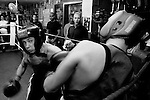 Nikita Sidarchuk (left) fights during the Jerusalem boxing championship at the Jerusalem Boxing club, a bomb shelter in the middle lower class neighborhood of Katamonim in Jerusalem March 9, 2007.