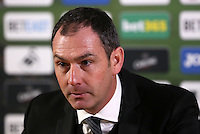 Swansea Citys head coach Paul Clement during the post match press conference after the Premier League match between Swansea City and Arsenal at The Liberty Stadium, Swansea, Wales, UK. Saturday 14 January 2017
