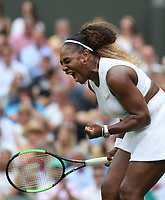 Serena Williams (USA) during her match against Alison Riske (USA) in their Ladies' Singles Quarter-Finals match<br /> <br /> Photographer Rob Newell/CameraSport<br /> <br /> Wimbledon Lawn Tennis Championships - Day 8 - Tuesday 9th July 2019 -  All England Lawn Tennis and Croquet Club - Wimbledon - London - England<br /> <br /> World Copyright © 2019 CameraSport. All rights reserved. 43 Linden Ave. Countesthorpe. Leicester. England. LE8 5PG - Tel: +44 (0) 116 277 4147 - admin@camerasport.com - www.camerasport.com