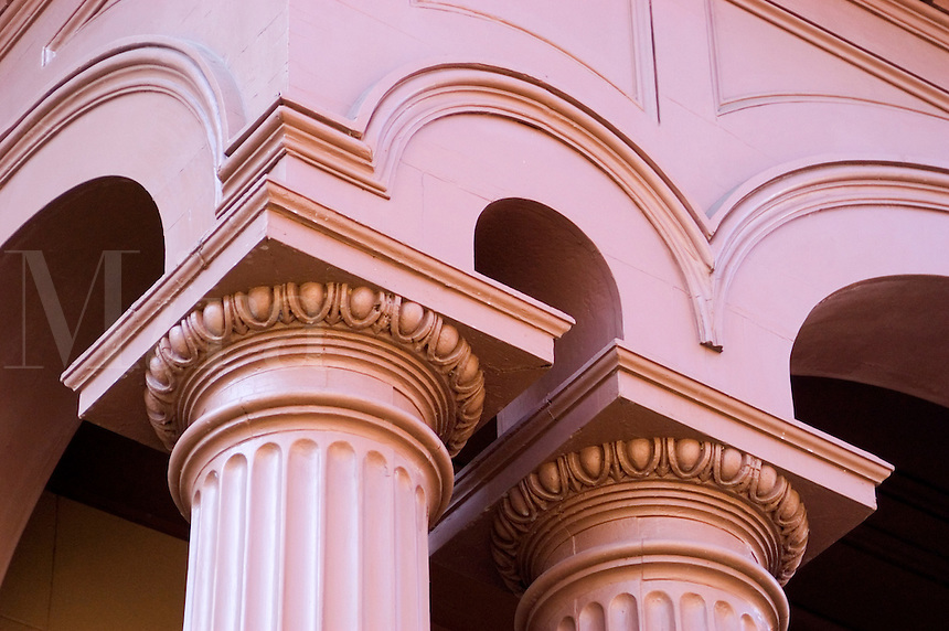 Facade detail of the Bolling Haxall House in downtown Richmond, Virginia.