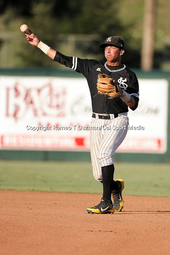 May 26, 2012: Kennesaw Owls infielder Andy Almonte (5) throws to first base during ASUN Championship baseball game action between the Kennesaw Owls and the Belmont Bruins. Belmont defeated Kennesaw 10-4 to win their second straight ASUN Championship at Melching Field at Conrad Park in De Land, FL