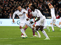Pictured: Bafetimbi Gomis of Swansea (R) celebrating his equaliser with team captain Ashley Williams (L) Saturday 10 January 2015<br />