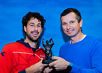 Alphen aan den Rijn, Netherlands, December 15, 2018, Tennispark Nieuwe Sloot, Ned. Loterij NK Tennis, Robin Haase (NED) (L) receives the tennis player of the year award from Richard Krajicek<br /> Photo: Tennisimages/Henk Koster
