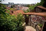 SERBIA, Belgrade, A staircase in the Zemun neighborhood overlooking Novi Beograd or New Belgrade, Eastern Europe