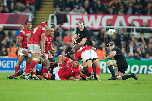 09.10.2015. St James Park, Newcastle, England. Rugby World Cup. New Zealand versus Tonga. Tonga prop Sila Puafisi and Tonga flanker Sione Kalamafoni.