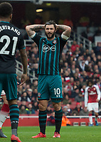 Southampton's Charlie Austin during the EPL - Premier League match between Arsenal and Southampton at the Emirates Stadium, London, England on 8 April 2018. Photo by Andrew Aleksiejczuk / PRiME Media Images.