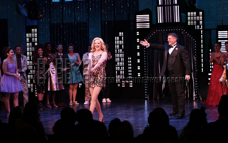 """Angie Schworer and Christopher Sieber during the Broadway Opening Night Curtain Call of """"The Prom"""" at The Longacre Theatre on November 15, 2018 in New York City."""