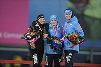 SCHAATSEN: GRONINGEN: Sportcentrum Kardinge, 18-01-2015, KPN NK Sprint, Laurine van Riessen, Thijsje Oenema, Margot Boer, ©foto Martin de Jong