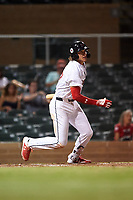 Scottsdale Scorpions Alec Bohm (37), of the Philadelphia Phillies organization, at bat during an Arizona Fall League game against the Glendale Desert Dogs on September 20, 2019 at Salt River Fields at Talking Stick in Scottsdale, Arizona. Scottsdale defeated Glendale 3-2. (Zachary Lucy/Four Seam Images)