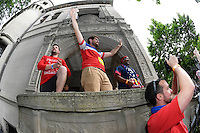 Chicago, IL - Tuesday June 07, 2016:  Members of the USA supporters group American Outlaws and other supporters march from Soccer House to Soldier Field prior to a Copa America Centenario Group A match between United States (USA) and Costa Rica (CRC) at Soldier Field.