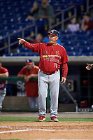 Palm Beach Cardinals manager Dann Bilardello (11) talks with an umpire during the second game of a doubleheader against the Clearwater Threshers on April 13, 2017 at Spectrum Field in Clearwater, Florida.  Palm Beach defeated Clearwater 1-0.  (Mike Janes/Four Seam Images)