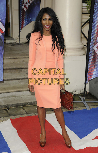 Sinitta (Sinitta Renet Malone).The Britain's Got Talent 2013 press launch, ICA, Carlton House, The Mall, London, England..April 11th, 2013.full length orange pink blazer dress salmon coral brown bronze shoes .CAP/CAN.©Can Nguyen/Capital Pictures.