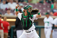 Dayton Dragons catcher Tyler Stephenson (9) throws to second base during a game against the Cedar Rapids Kernels on May 10, 2017 at Fifth Third Field in Dayton, Ohio.  Cedar Rapids defeated Dayton 6-5 in ten innings.  (Mike Janes/Four Seam Images)