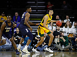 SIOUX FALLS, SD - MARCH 8: Tyson Ward #24 of the North Dakota State Bison dribbles the ball while being guarded by Emmanuel Nzekwesi #23 of the Oral Roberts Golden Eagles at the 2020 Summit League Basketball Championship in Sioux Falls, SD. (Photo by Richard Carlson/Inertia)