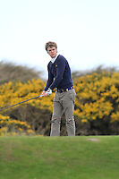 Theo Coffey (Slieve Russell) on the 7th tee during round 2 of The West of Ireland Amateur Open in Co. Sligo Golf Club on Saturday 19th April 2014.<br /> Picture:  Thos Caffrey / www.golffile.ie