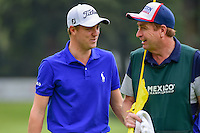 Justin Thomas (USA) chats with his caddie after his par putt on 17 during round 3 of the World Golf Championships, Mexico, Club De Golf Chapultepec, Mexico City, Mexico. 3/4/2017.<br /> Picture: Golffile | Ken Murray<br /> <br /> <br /> All photo usage must carry mandatory copyright credit (&copy; Golffile | Ken Murray)