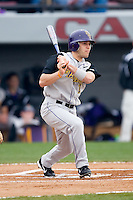 Harrison Eldridge (1) of the East Carolina Pirates follows through on his swing versus the South Carolina Gamecocks at the Sarge Frye Field in Columbia, SC, Sunday, February 24, 2008.