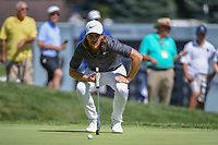 Tommy Fleetwood (ENG) lines up his putt on 9 during 3rd round of the World Golf Championships - Bridgestone Invitational, at the Firestone Country Club, Akron, Ohio. 8/4/2018.<br /> Picture: Golffile | Ken Murray<br /> <br /> <br /> All photo usage must carry mandatory copyright credit (© Golffile | Ken Murray)